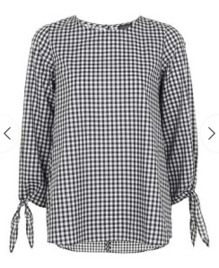 gingham-tie-sleeve-top