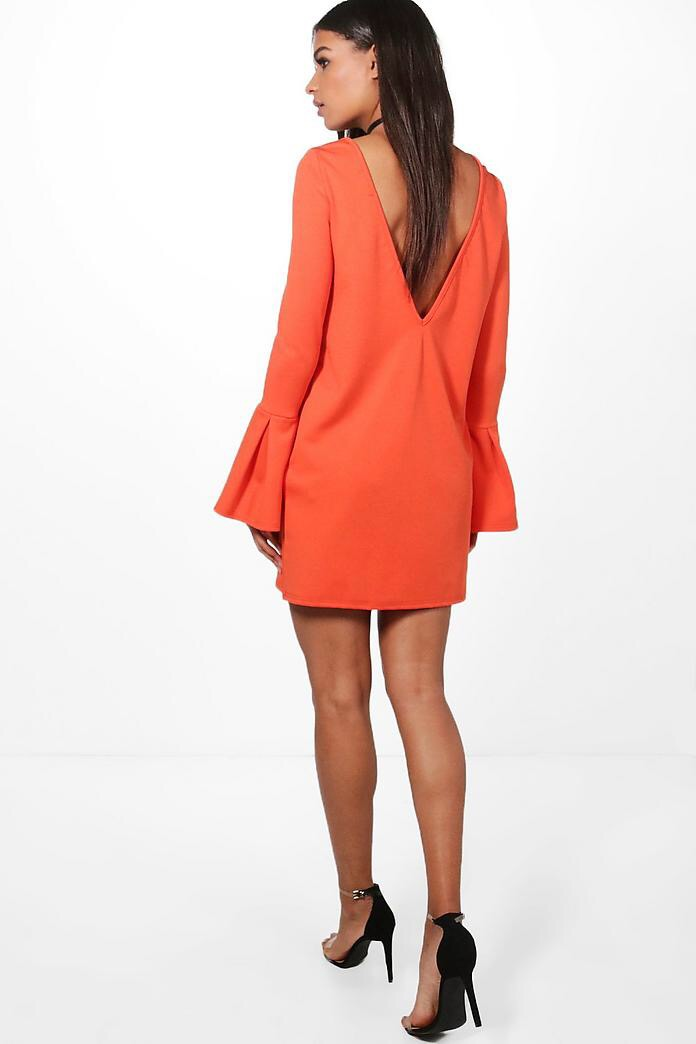 fb435646493e Tia Twist Front Ruched Sleeves Shift Dress · Mila Low Back Flute Sleeve  Shift Dress