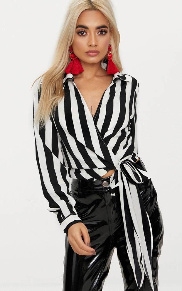 https://www.prettylittlething.com/monochrome-stripe-wrap-front-tie-side-blouse.html